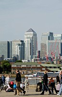 England, London, Greenwich, View of Docklands Canary Wharf from Greenwich riverside.
