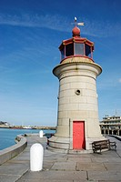 England, Kent, Ramsgate, The small lighthouse at Ramsgate Royal Harbour.