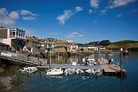 England, Devon, Salcombe, Small boats moored to Whitestrand Pontoon in Salcombe Harbour in Devon's most southerly town