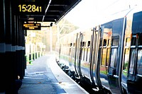 England, West Midlands, Longbridge, A train alongside a platform at Longbridge train station in the West Midlands