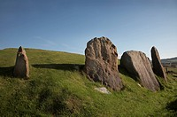 Scotland, North Ayrshire, Auchagallon, Auchagallon Stone Circle above Machrie Bay on the Isle of Arran. The stone circle dates back to around 2,000BC ...