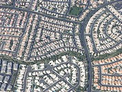 Aerial view of housing pattern in urban subdivision, Nevada