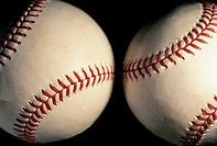 Two baseballs close-up