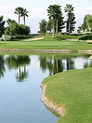 Golf putting green surrounded by water hazards and palm trees
