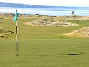 Golf flag on putting green with fairways in distance at Chambers Bay Golf Course, Tacoma, Washington, USA, Puget Sound and The Olympic Mountains in ba...