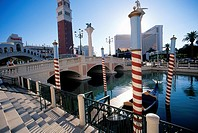 Canal and gondolas outside the Venetian Hotel and Casino on The Strip, Las Vegas, Nevada, USA