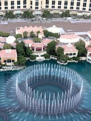 Bellagio Hotel and Casino behind fountain on the Las Vegas Strip, view from above