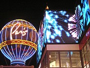 Neon Paris Casino and Hotel Balloon and fireworks sign on the Las Vegas Strip