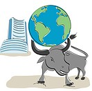Globe on bull´s head with Bombay stock exchange building in the background