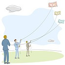 Businessmen flying kites of money in a field