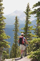 kananaskis country, alberta, canada, a male hiker walking down a trail at nahahi ridge