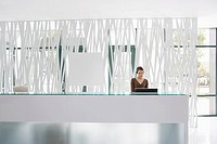 Businesswoman standing at office reception desk