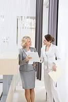 Businesswomen reviewing paperwork together