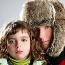 beautiful mother daughter winter portrait fur hat