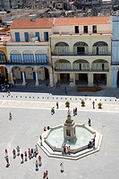 Plaza Vieja in Old Havana, Cuba with Buildings of 18th Century. The Plaza Vieja a must visit site for tourists.