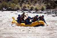 People white water rafting