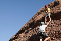 Two men rock climbing (thumbnail)