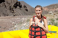 Woman ready for white water rafting