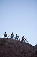 Four mountain bikers on a hill