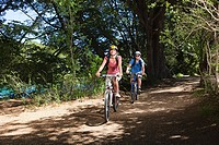 Couple cycling through forest