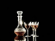 Brandy in decanter and glasses