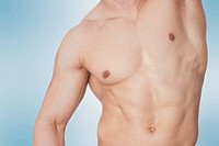 Close_up of a bare chested man