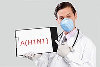 Portrait of a doctor showing H1N1 sign