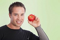 Man holding an apple