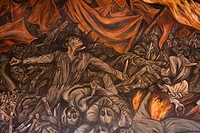 Mexico, Jalisco, Guadalajara, Governors Palace, ceiling mural depicting scenes from the Mexican revolution, painted by Jose Clemente Orozco.