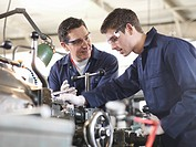 Experienced Engineer Teaching Apprentice
