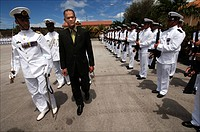 Curacao, Willemstad, Parera Marine basis, parade in the honour of queensday by gouverner Frits Goedgedrag