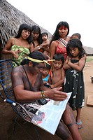 Portrait of a Xingu Indian family in the Aamzone, Brazil
