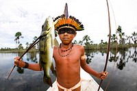 Portrait of a Xingu Indian in the Aamzone, Brazil Xingu indians love hunting in the forest and are good hunters They hunt for fish, wild pigs, birds, ...