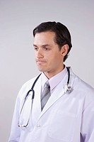Close_up of a doctor thinking