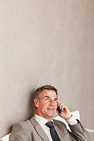 Businessman talking on cellular phone