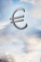 Euro symbol floating amongst the clouds