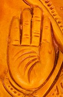 Detail of the hand of a statue