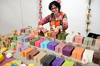 Natural soaps  Saleswoman in a stall  Fira Natura  Lleida  Catalonia, Spain