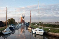 Drainage windmill at the riverside, Horsey Windpump, Horsey, Norfolk, East Anglia, England