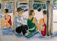 Swimmers at the Park by Ethel Ashton, pastel drawing, Circa 1930, 1896_1975, USA, Philadelphia, Pennsylvania, David David Gallery
