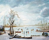 Frozen River Scene, Heert, Hans van /Dutch