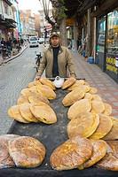 Bread seller Afyon western Anatolia Turkey Asia
