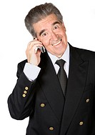senior business man on the phone over a white background