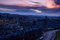 Scotland, City of Edinburgh, Edinburgh. Looking south from Castle Hill across the city towards the Pentland Hills