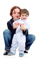 mother and son isolated over a white background
