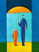 Painting man holding umbrella over him child (thumbnail)
