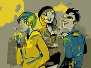 Three people smoking cigarettes (thumbnail)