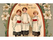 A vintage Easter postcard of three choir boys