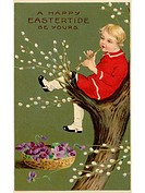 A vintage Easter postcard of a basket of violets and a boy playing a flute in a pussy willow tree