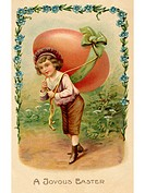 A vintage Easter postcard of a child with a large egg on his back (thumbnail)